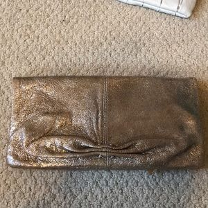 Junior drake Italian leather gold metallic clutch